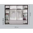BIRGIT harmónika ajtós gardróbszekrény 255 cm széles, lávaszürke, tükörrel