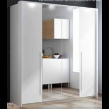 BIRGIT harmónika ajtós gardróbszekrény 209 cm széles, fehér, tükörrel