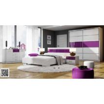 DEBI hálószoba garnitúra fehér-lila szín összeállításban