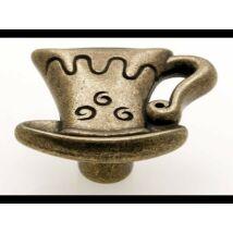 Gomb fogantyú, antikolt bronz színű