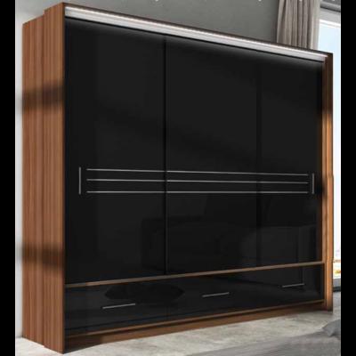 AURA gardróbszekrény 250 cm széles, dió-fekete