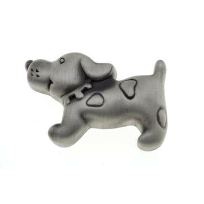 Gomb fogantyú - Kutya, antikolt ezüst színű