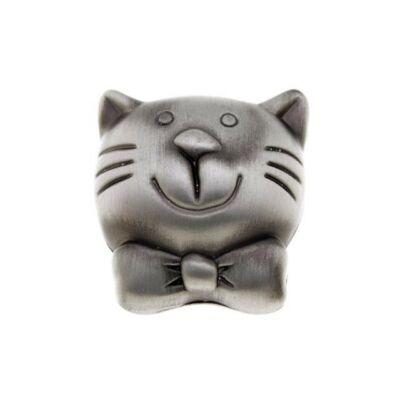 Gomb fogantyú - Macska, antikolt ezüst színű