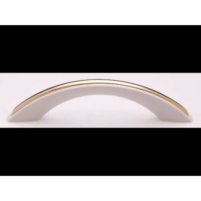 Fogantyú, fehér-arany színű, lyuktáv:96 mm