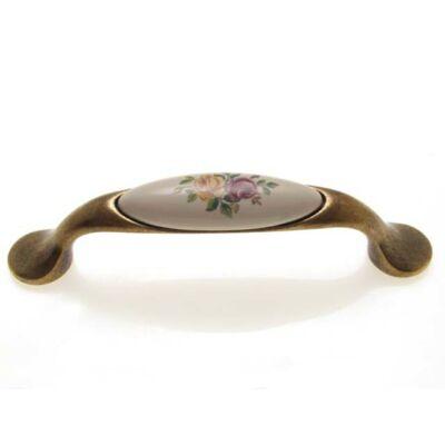 Fogantyú, antikolt bronz-színes virág színű, lyuktáv:96 mm
